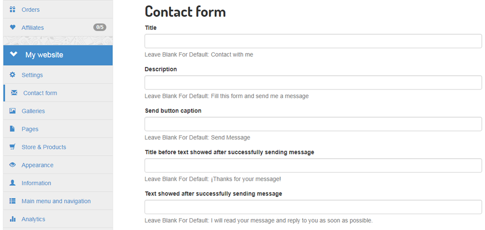 Custom text in contact forms