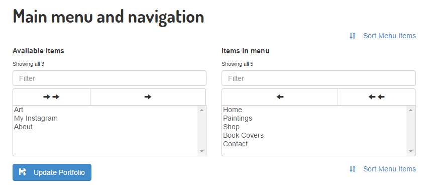 Custom Menus in Drawfolio