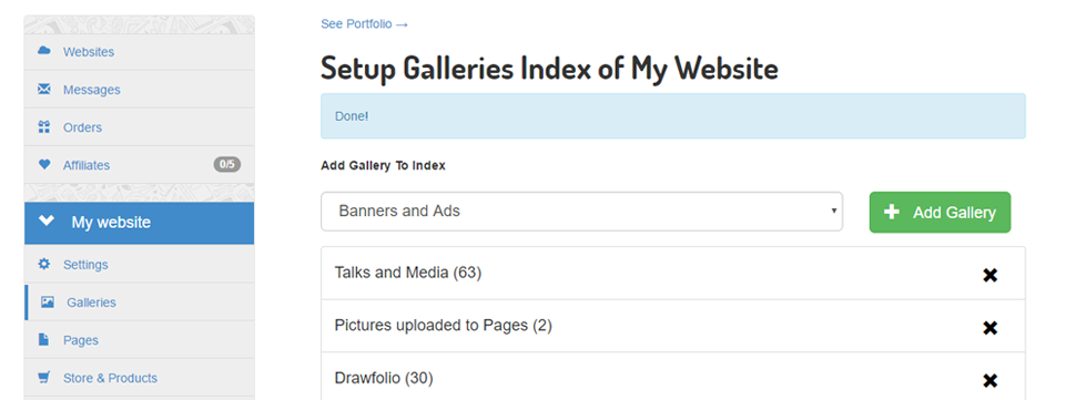 Galleries index and subgalleries navigation