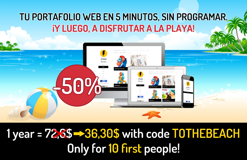 Get clients while enjoying the beach: -50% discount for first 10 people with TOTHEBEACH coupon code