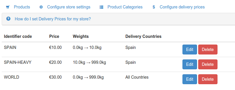 Weights in products and shipping prices